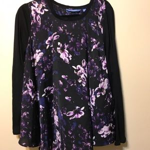 black top  with purple color flowers